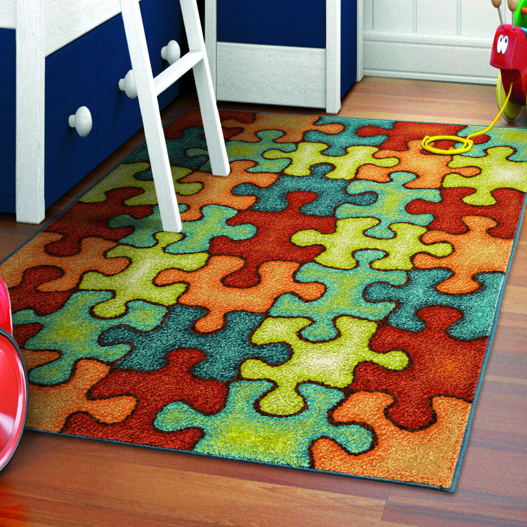 Orian Rugs Kids Court Collection I M Puzzled Rainbow Area Rug