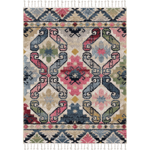 Orian Rugs Saffron Northern Star Cream Area Rug with Braided Fringe