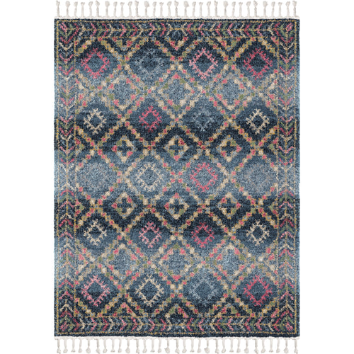 Orian Rugs Saffron Rabat Prussian Blue Area Rug with Braided Fringe