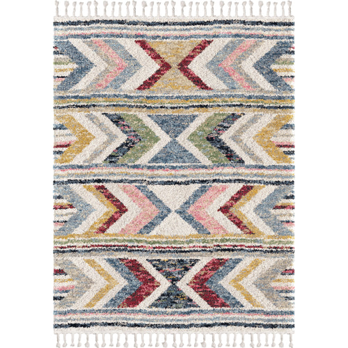 Orian Rugs Saffron Sahara Cream Area Rug with Braided Fringe
