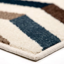 Orian Farmhouse Benchmark Blue Multi Area Rug