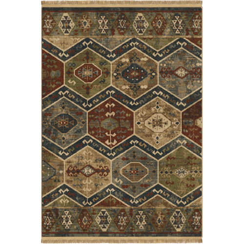 Orian Rugs Voyage Aztec Panel Teawash Area Rug with Fringe