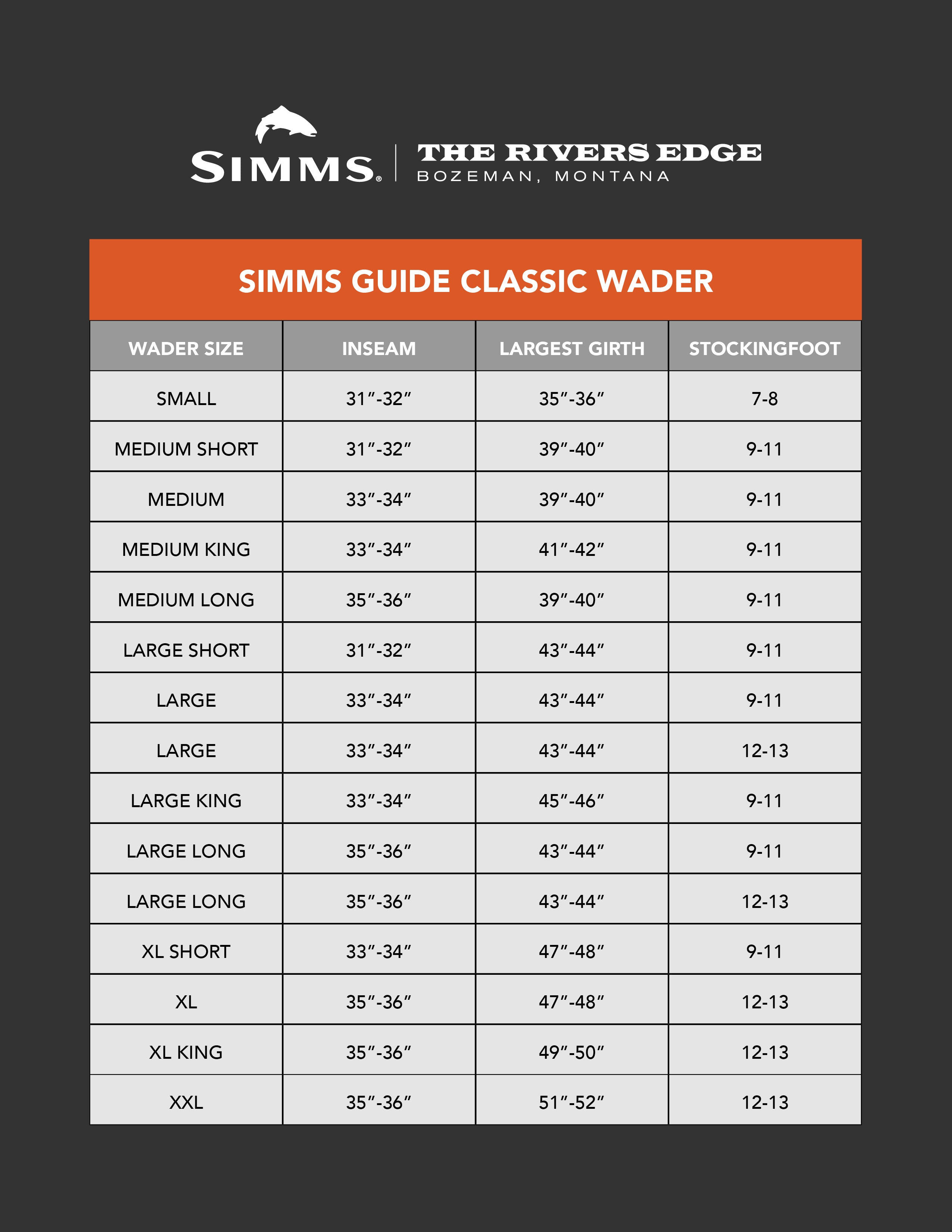 Simms Guide Classic Wader Size Chart
