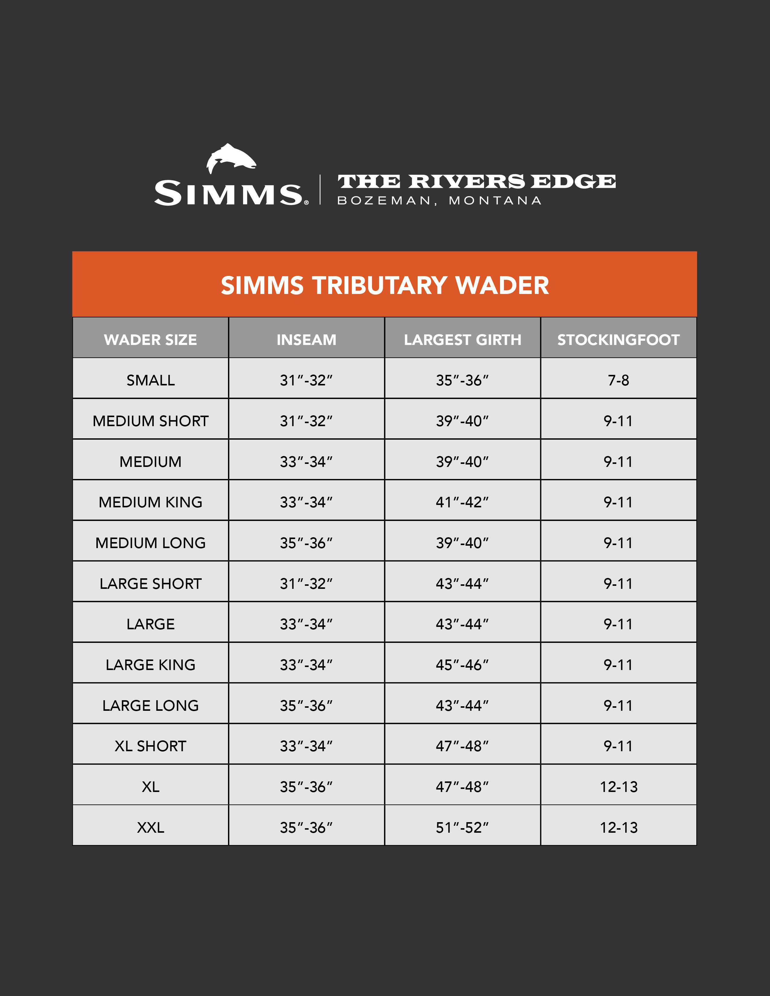 Simms Men's Tributary Wader Size Chart