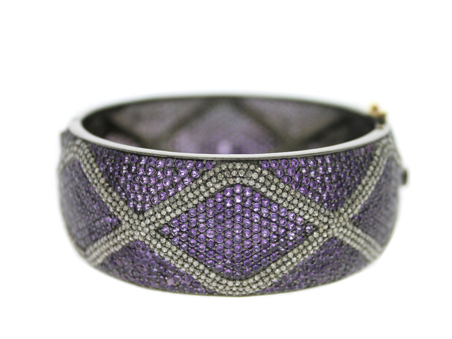 ALEXA - Amethyst and Diamond Cuff Bracelet