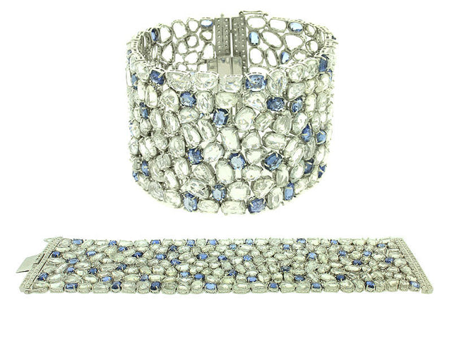 BLAKE - WHITE AND BLUE SAPPHIRE DIAMOND 18K WHITE GOLD CUFF BANGLE