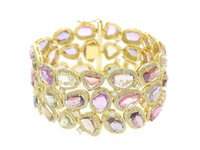 BRYNN - 18K GOLD MULTI-COLOR SAPPHIRE AND DIAMOND BRACELET