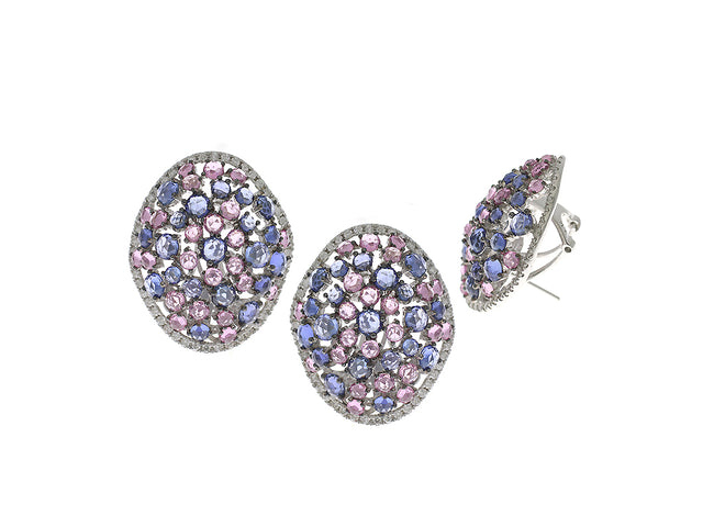DAMN, SISSY  14K GOLD WHITE DIAMOND, BLUE AND PINK SAPPHIRE EARRINGS