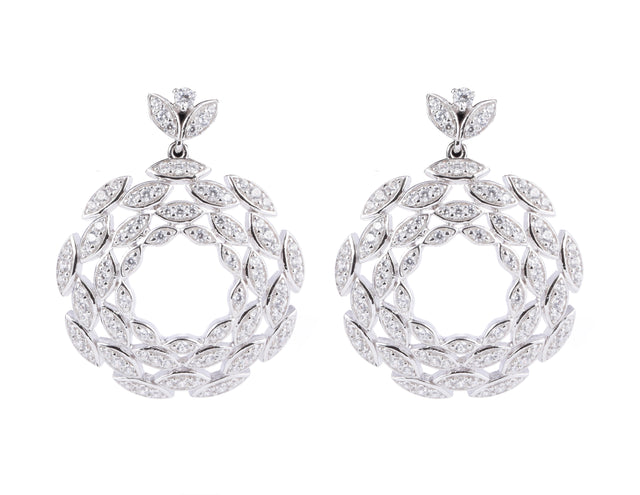 Lucina/White Marquis Circle Earrings