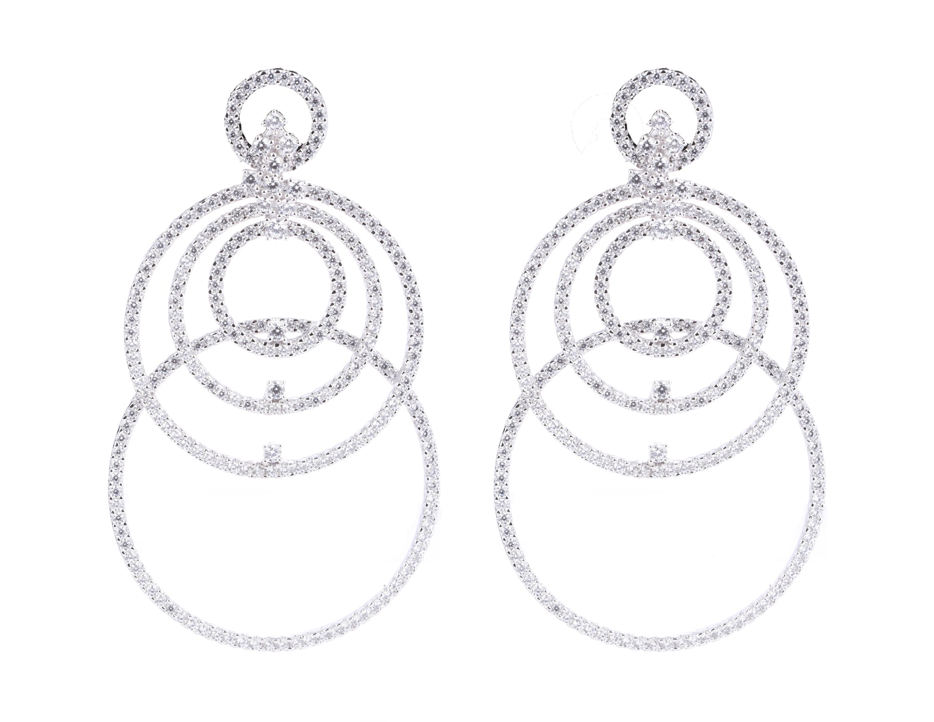 Anastasia/Multiple Hoop White Stone Earrings