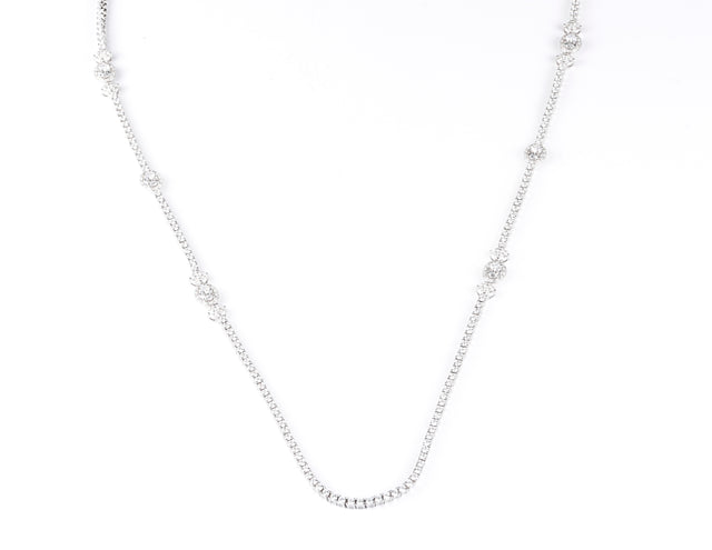Catherine of Alexandria/White Stone Long Necklace