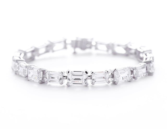 Claudia/Emerald Cut White Stone Tennis Bracelet