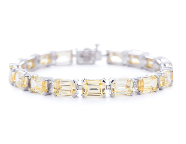 Diana/Emerald Cut Yellow Stone Tennis Bracelet