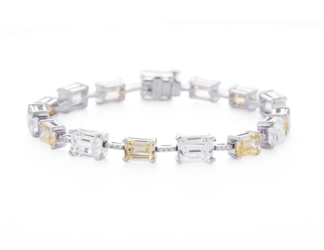 Savannah / Emerald Cut White and Yellow Stone Tennis Bracelet