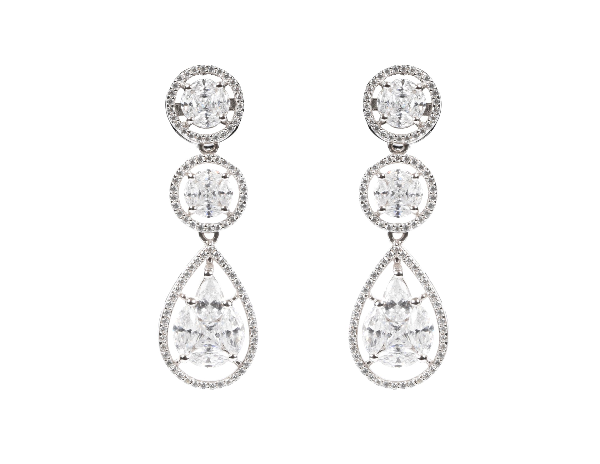 Victoria/ White Stone Drop Earrings