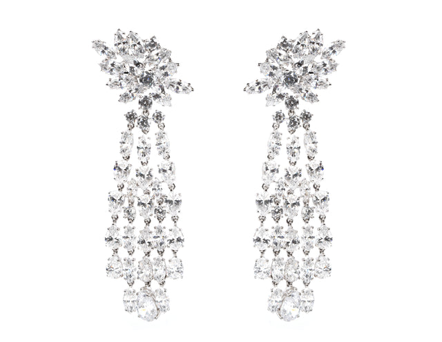 Paris/Chandelier White Stone Earrings