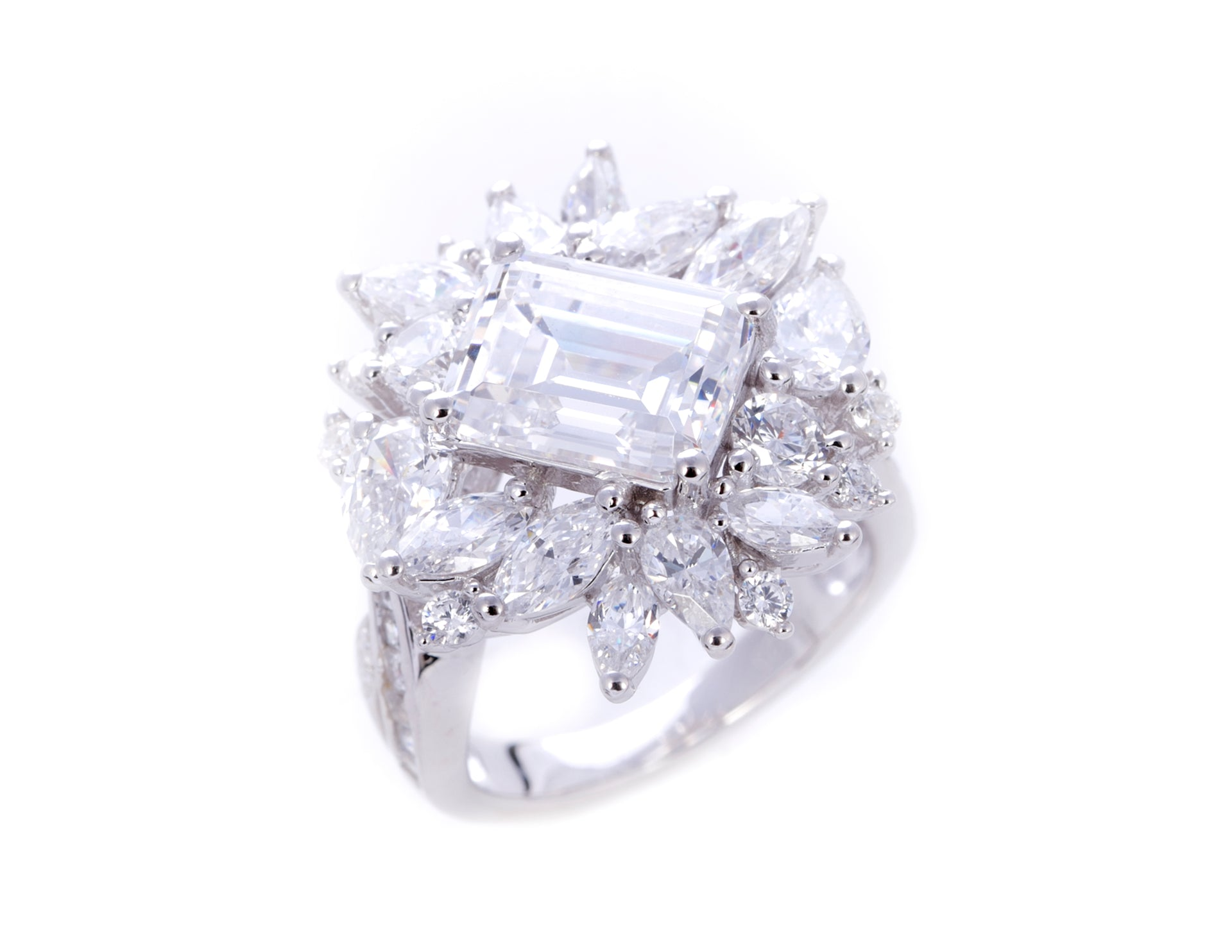 Elizabeth/Emerald Cut White Center Stone Ring