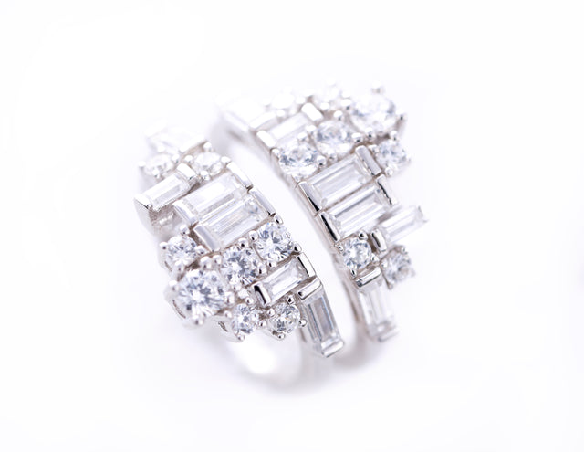 Isabel/Two Part White Stone Crown Ring