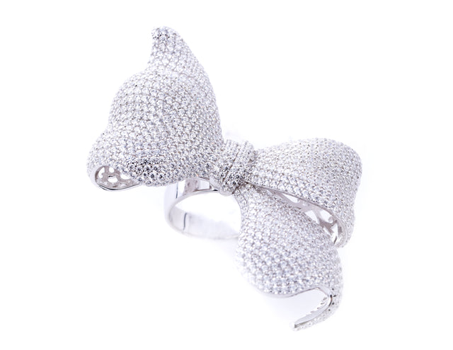 Daniela/White Stone Bow Ring