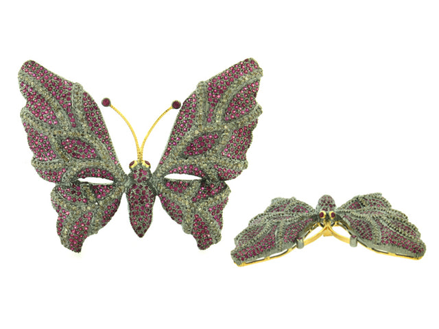 MECKEL - 14K GOLD RUBY AND DIAMOND BROOCH