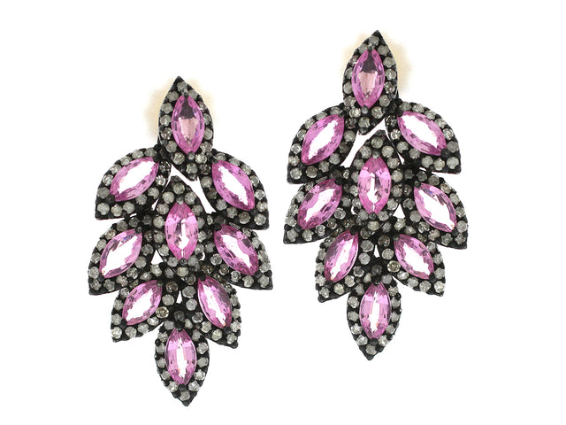 ROCKY - 18K PINK SAPPHIRE AND DIAMOND EARRINGS