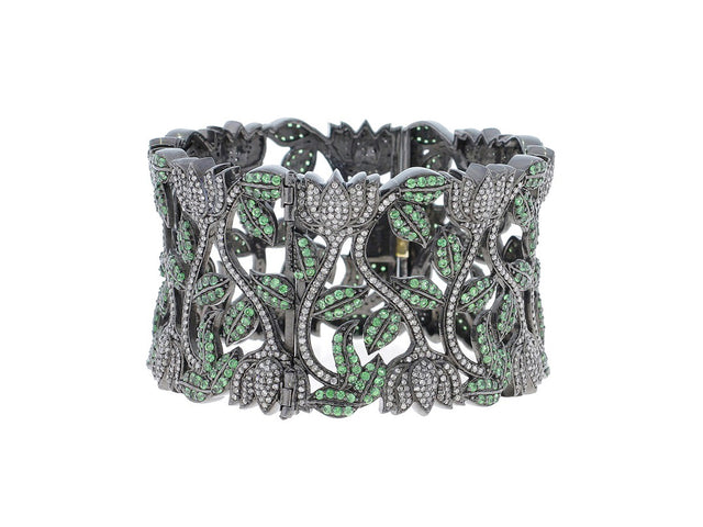 HUNTER - TSAVORITE AND DIAMOND CUFF BANGLE