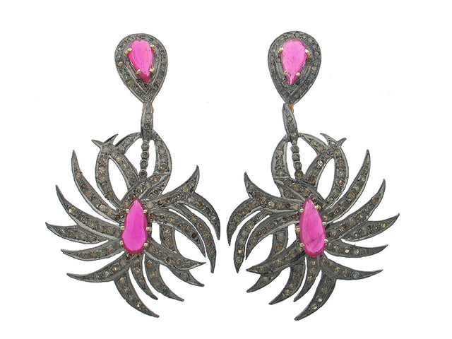 NICO - RUBY AND DIAMOND 14K GOLD EARRINGS