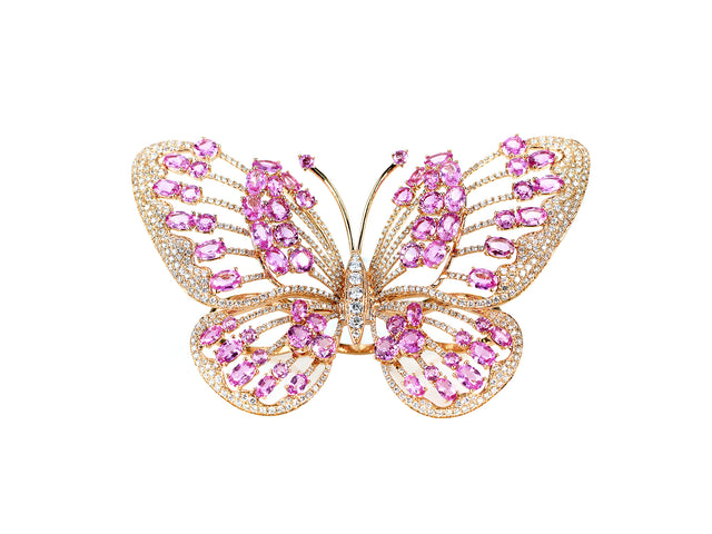 MCKAY - 18K ROSE GOLD PINK SAPPHIRE AND DIAMOND BUTTERFLY RING