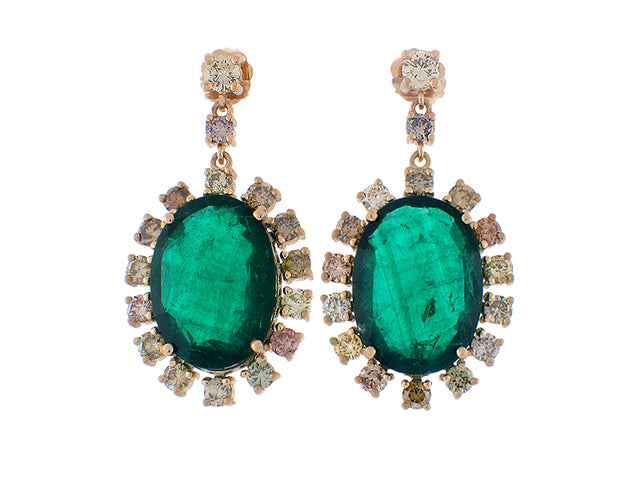 MANDEVILLE  18K GOLD EMERALD AND DIAMOND EARRINGS