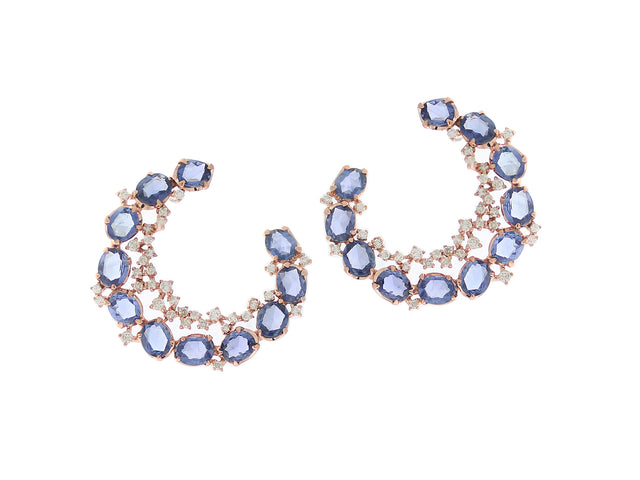 MARINA 14K GOLD DIAMOND AND SAPPHIRE EARRINGS