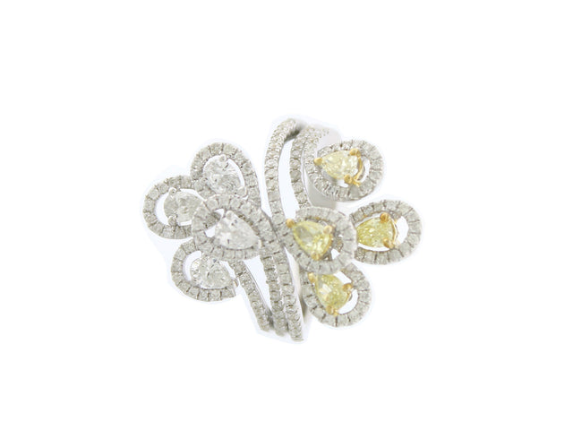 HELLER  18K WHITE GOLD YELLOW AND WHITE DIAMOND RING