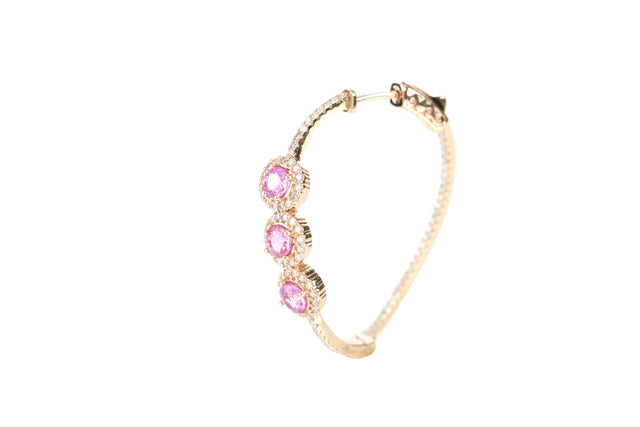 ROSSI 18K ROSE-GOLD PINK SAPPHIRE AND DIAMOND HOOP EARRING