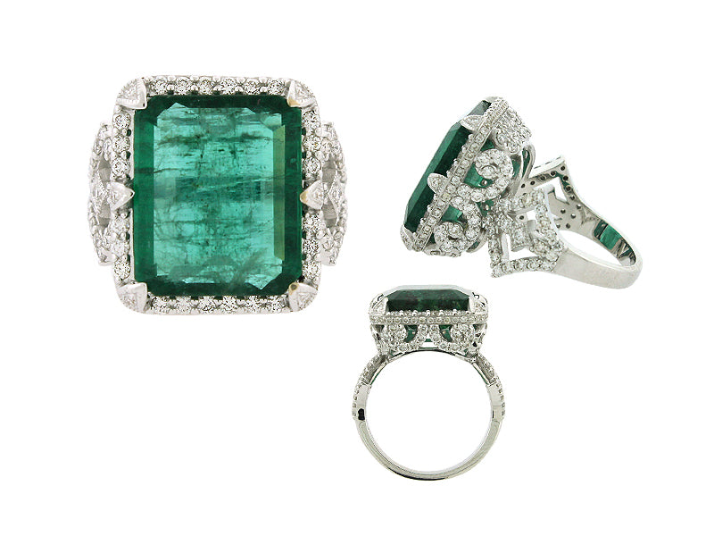 BARRONESS  18K GOLD EMERALD AND DIAMOND RING