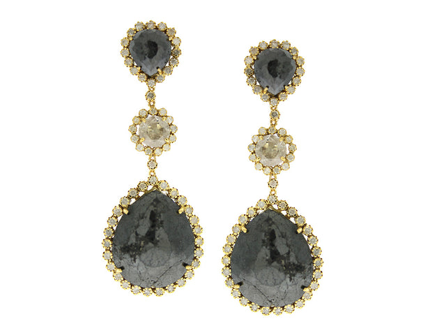 SHAY 14K GOLD FANCY AND BLACK DIAMOND EARRINGS
