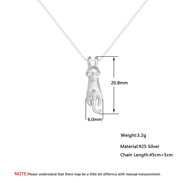 925 Sterling Silver 3D Cat Hanging Pendants Necklaces For Women Cute Tiny Animal Charm Long Chain Colier Jewelry Femme New Gifts
