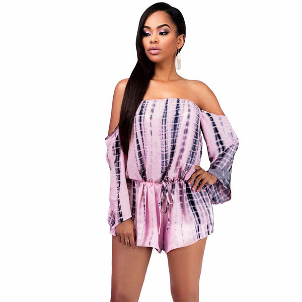 2017 autumn sexy women rompers and jumpsuits with long sleeve off shoulder overalls Tie-dye Slash Neck backless playsuits