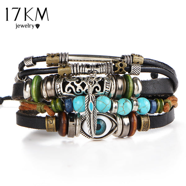 17KM Punk Design Turkish Evil Eye Bracelets For Women Men Wristband Female Owl Leather Bracelet Synthetic Stone Vintage Jewelry