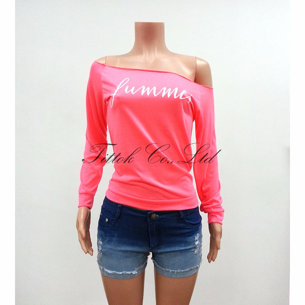 2017 fashion summer sexy t shirt women tops full sleeve slash neck off shoulder pink letter causal t-shirt