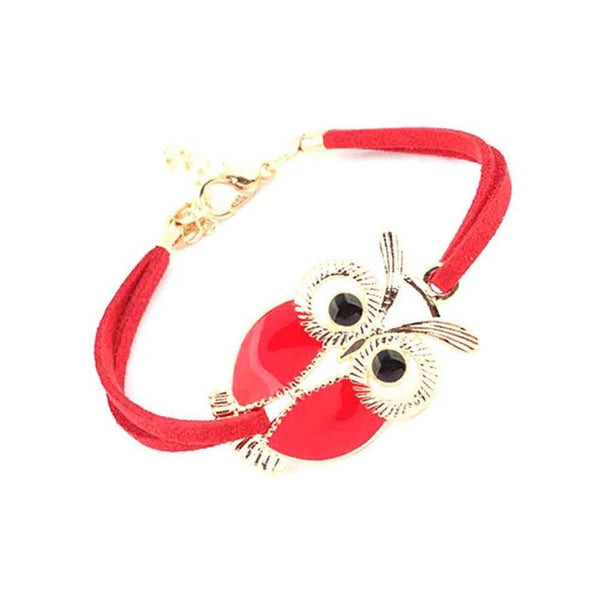 4 Color Simple Fashion Wild Leather Rope Owl Bracelet