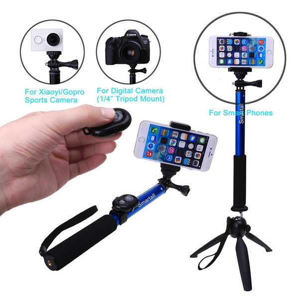 For iPhone 7 6 S Plus SE 5 C For Samsung S7 Edge S6 A8 A5 Z +Bluetooth Camera Shutter Selfie Stick GOPRO Monopod+YUNTENG Tripod