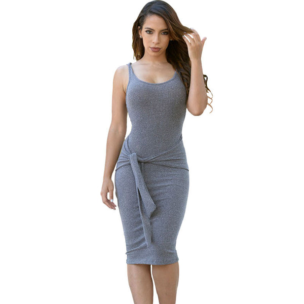 2 Color Women Casual Waist tie Summer Dress Bottoming wear Sleeveless Sexy pencil dress simple stretchy bodycon dress