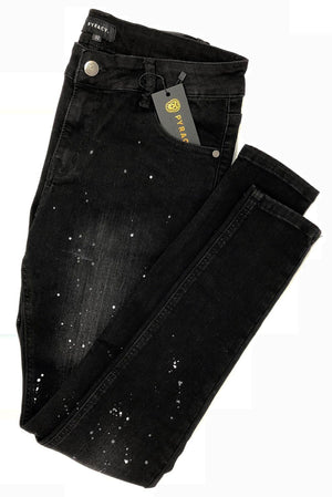Classic Black Paint Drip 'CRUISE' Denim