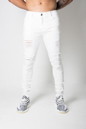 Distressed White 'CRUISE' Denim