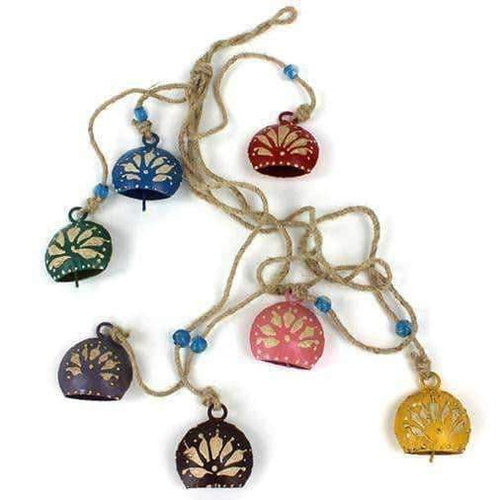 Charming Colourful Set Of Seven Tinkling Bells On A  String 77cm - Baan 57