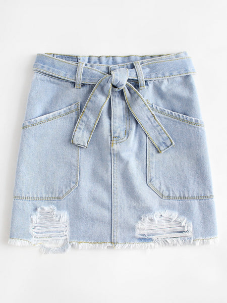 Denim Twisted Skirt
