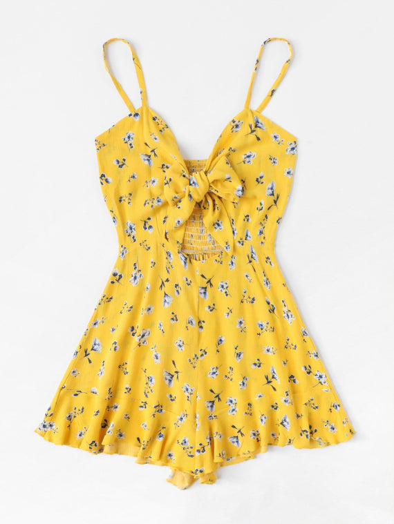 Yellow Floral Knotted Romper