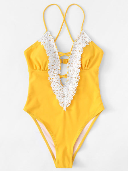 Yellow Lace One-Piece Swimmie