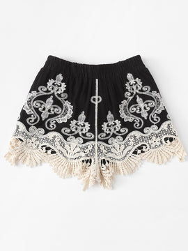 Black Lace Shorts