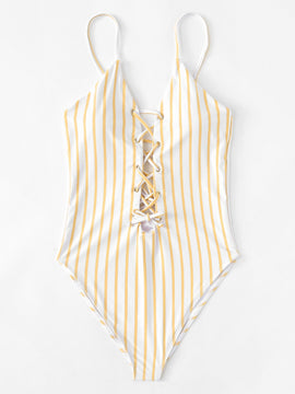 Yellow Striped One Piece Swimmie