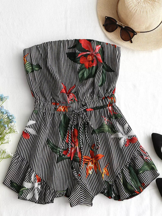 Striped Floral Romper
